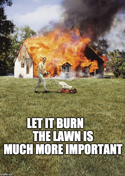 It's mowing season 'round here | LET IT BURN       THE LAWN IS MUCH MORE IMPORTANT | image tagged in house on fire,mowing,cut the grass,summer rituals | made w/ Imgflip meme maker