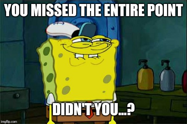 YOU MISSED THE ENTIRE POINT DIDN'T YOU...? | image tagged in memes,dont you squidward | made w/ Imgflip meme maker