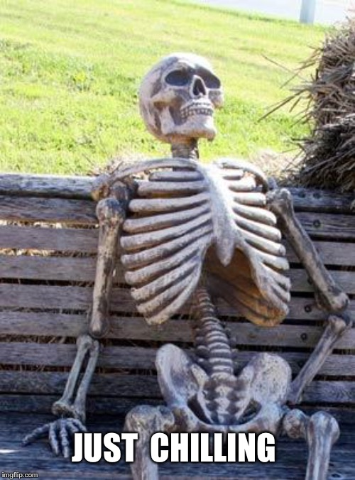 Waiting Skeleton |  JUST  CHILLING | image tagged in memes,waiting skeleton | made w/ Imgflip meme maker