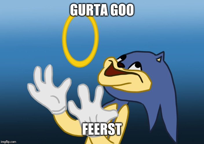 GURTA GOO FEERST | image tagged in sanic the hodgheg | made w/ Imgflip meme maker