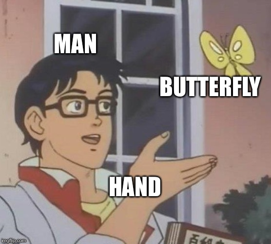Is this a pigeon literal | MAN BUTTERFLY HAND | image tagged in memes,is this a pigeon,literally | made w/ Imgflip meme maker
