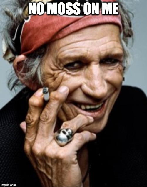 Keith Richards | NO MOSS ON ME | image tagged in keith richards | made w/ Imgflip meme maker