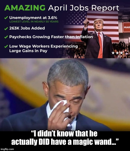 "Amazing how deregulation and lower taxes frees up the economy...  AKA ""a magic wand"" to Obama.. 