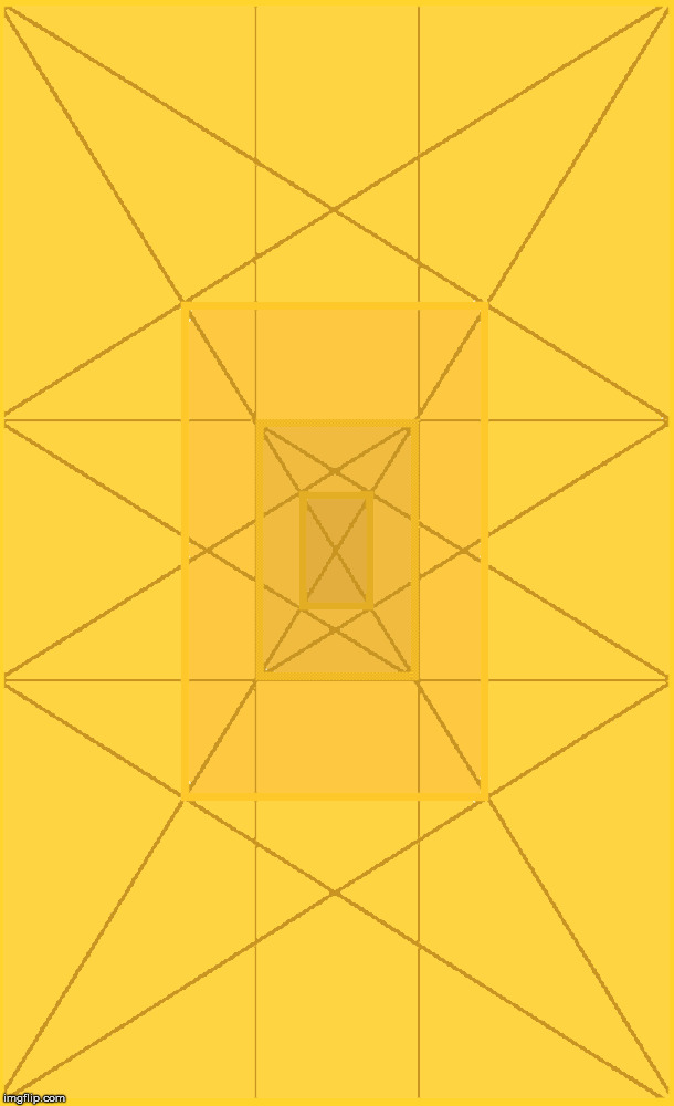 Golden Light. The Golden Ratio in color and geometry. #E7B700 #F3C300 #FFCF00 #FFDA00 | image tagged in the golden ratio,visible,light,spectrum,math,geometry | made w/ Imgflip meme maker
