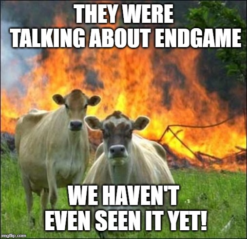 Evil Cows | THEY WERE TALKING ABOUT ENDGAME WE HAVEN'T EVEN SEEN IT YET! | image tagged in memes,evil cows | made w/ Imgflip meme maker