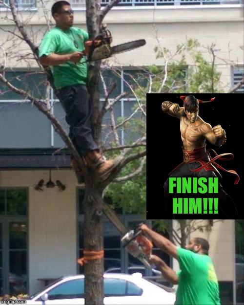 Joe's first day on the job. |  FINISH HIM!!! | image tagged in chainsaw,tree,memes,funny,mortal kombat | made w/ Imgflip meme maker