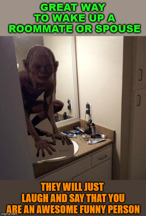 Great prank, find a creepy cutout | GREAT WAY TO WAKE UP A ROOMMATE OR SPOUSE THEY WILL JUST LAUGH AND SAY THAT YOU ARE AN AWESOME FUNNY PERSON | image tagged in golem,prank,frightened,funny meme,scared | made w/ Imgflip meme maker