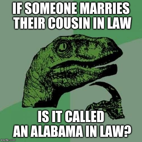 Philosoraptor Meme | IF SOMEONE MARRIES THEIR COUSIN IN LAW IS IT CALLED AN ALABAMA IN LAW? | image tagged in memes,philosoraptor | made w/ Imgflip meme maker