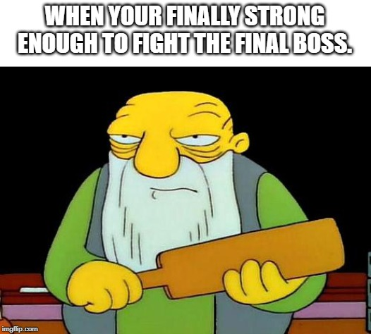 That's a paddlin' | WHEN YOUR FINALLY STRONG ENOUGH TO FIGHT THE FINAL BOSS. | image tagged in memes,that's a paddlin' | made w/ Imgflip meme maker