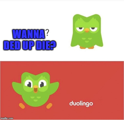 DUOLINGO BORED | WANNA DED UP DIE? | image tagged in duolingo bored | made w/ Imgflip meme maker