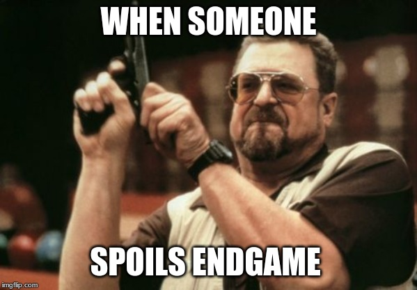 Am I The Only One Around Here | WHEN SOMEONE SPOILS ENDGAME | image tagged in memes,am i the only one around here | made w/ Imgflip meme maker