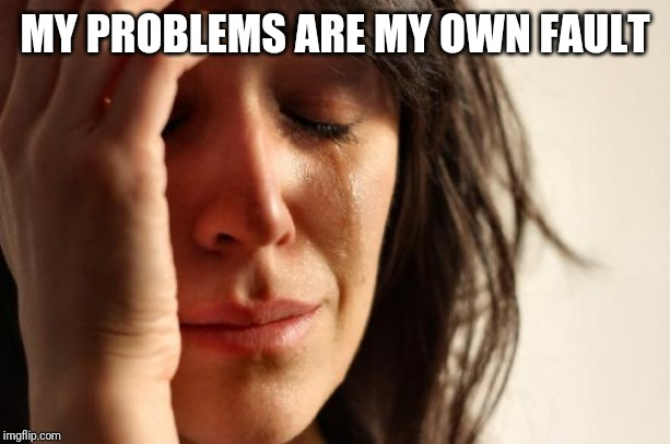 First World Problems Meme | MY PROBLEMS ARE MY OWN FAULT | image tagged in memes,first world problems | made w/ Imgflip meme maker