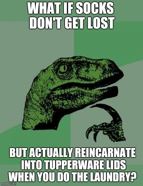 Or maybe my socks just have a high divorce rate | WHAT IF SOCKS DON'T GET LOST BUT ACTUALLY REINCARNATE INTO TUPPERWARE LIDS WHEN YOU DO THE LAUNDRY? | image tagged in memes,philosoraptor,socks,lost in space,unsolved mysteries | made w/ Imgflip meme maker