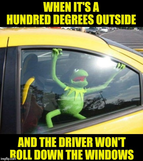 WHEN IT'S A HUNDRED DEGREES OUTSIDE; AND THE DRIVER WON'T ROLL DOWN THE WINDOWS | image tagged in kermit,too hot | made w/ Imgflip meme maker