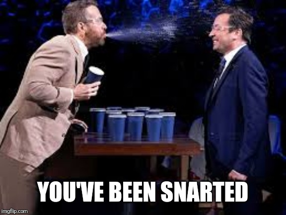 YOU'VE BEEN SNARTED | image tagged in spit,take | made w/ Imgflip meme maker