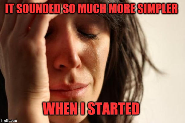 IT SOUNDED SO MUCH MORE SIMPLER WHEN I STARTED | image tagged in memes,first world problems | made w/ Imgflip meme maker
