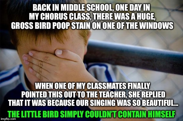 Confession Kid |  BACK IN MIDDLE SCHOOL, ONE DAY IN MY CHORUS CLASS, THERE WAS A HUGE, GROSS BIRD POOP STAIN ON ONE OF THE WINDOWS; WHEN ONE OF MY CLASSMATES FINALLY POINTED THIS OUT TO THE TEACHER, SHE REPLIED THAT IT WAS BECAUSE OUR SINGING WAS SO BEAUTIFUL... THE LITTLE BIRD SIMPLY COULDN'T CONTAIN HIMSELF | image tagged in memes,confession kid,choir,middle school,poop,singing | made w/ Imgflip meme maker