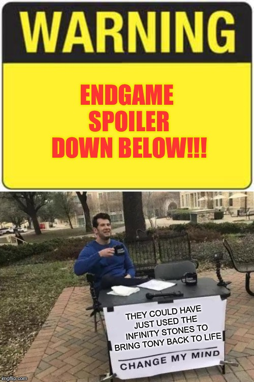 Endgame Spoiler Warning! |  ENDGAME SPOILER DOWN BELOW!!! THEY COULD HAVE JUST USED THE INFINITY STONES TO BRING TONY BACK TO LIFE | image tagged in blank warning sign,memes,change my mind,avengers endgame,infinity gauntlet | made w/ Imgflip meme maker
