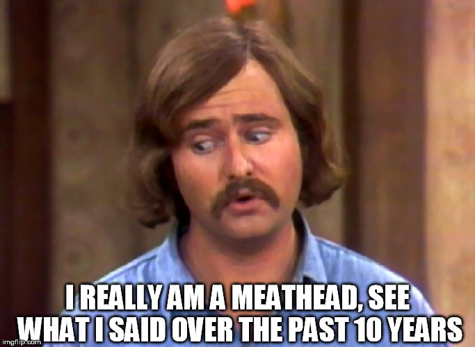 meathead | I REALLY AM A MEATHEAD, SEE WHAT I SAID OVER THE PAST 10 YEARS | image tagged in meathead | made w/ Imgflip meme maker