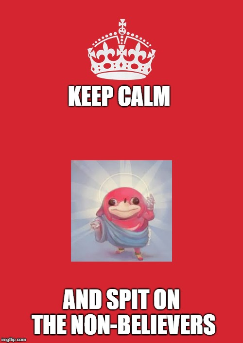 I know this meme is dead, but we will keep this meme scarce | KEEP CALM AND SPIT ON THE NON-BELIEVERS | image tagged in memes,keep calm and carry on red | made w/ Imgflip meme maker