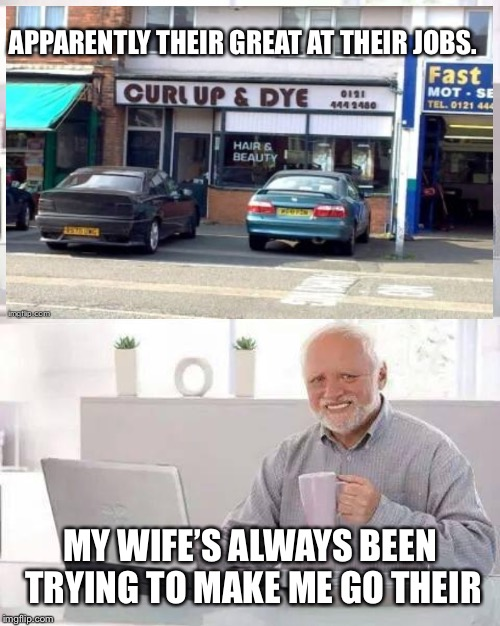 APPARENTLY THEIR GREAT AT THEIR JOBS. MY WIFE'S ALWAYS BEEN TRYING TO MAKE ME GO THEIR | image tagged in hide the pain harold | made w/ Imgflip meme maker