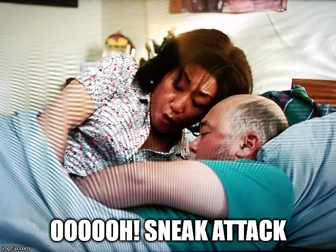 OooooH! Sneak Attack | OOOOOH! SNEAK ATTACK | image tagged in oh,sneak,attack,kim's convenience,convenience,kim's | made w/ Imgflip meme maker