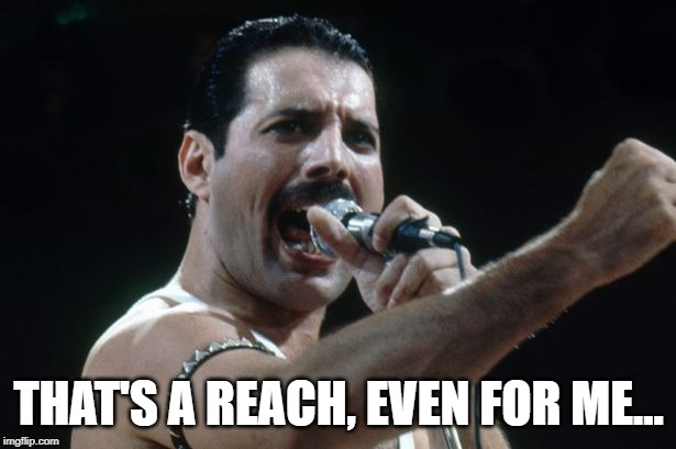 Freddie Mercury | THAT'S A REACH, EVEN FOR ME... | image tagged in freddie mercury | made w/ Imgflip meme maker