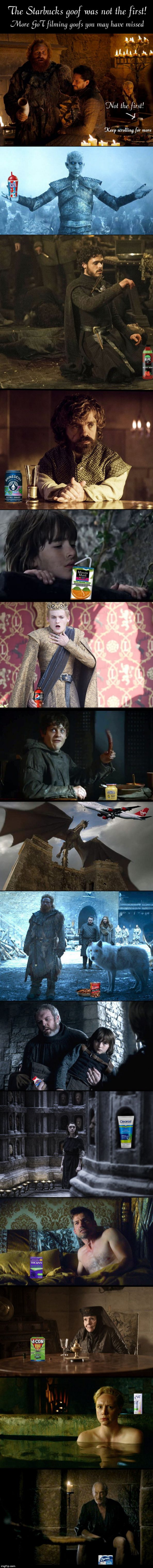 Beyond the Starbucks goof - GoT goofs you might have missed | image tagged in got filming goofs you might have missed,game of thrones,mistakes,humor,satire | made w/ Imgflip meme maker