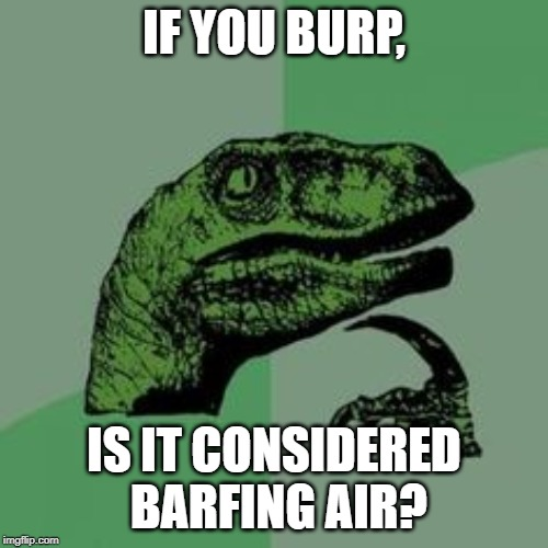 Time raptor  | IF YOU BURP, IS IT CONSIDERED BARFING AIR? | image tagged in time raptor | made w/ Imgflip meme maker