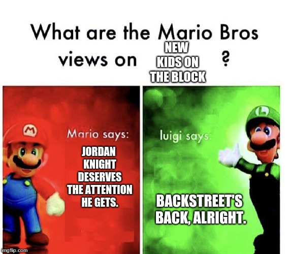 Really, Luigi? |  NEW KIDS ON THE BLOCK; JORDAN KNIGHT DESERVES THE ATTENTION HE GETS. BACKSTREET'S BACK, ALRIGHT. | image tagged in mario bros views,memes,funny,backstreet boys,new kids on the block | made w/ Imgflip meme maker
