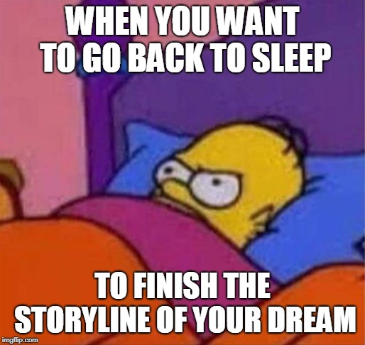 angry homer simpson in bed | WHEN YOU WANT TO GO BACK TO SLEEP TO FINISH THE STORYLINE OF YOUR DREAM | image tagged in angry homer simpson in bed | made w/ Imgflip meme maker