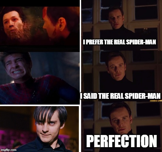 Tobey Maguire is a true legend | I PREFER THE REAL SPIDER-MAN I SAID THE REAL SPIDER-MAN PERFECTION | image tagged in perfection,spiderman,tobey maguire,tom holland | made w/ Imgflip meme maker