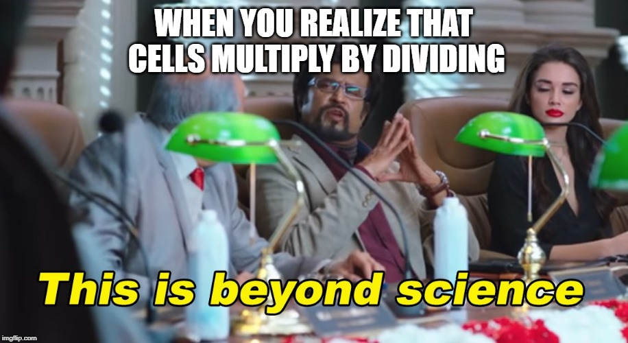 This is beyond science | WHEN YOU REALIZE THAT CELLS MULTIPLY BY DIVIDING | image tagged in this is beyond science | made w/ Imgflip meme maker