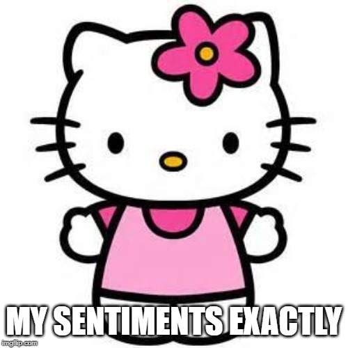 hello kitty | MY SENTIMENTS EXACTLY | image tagged in hello kitty | made w/ Imgflip meme maker