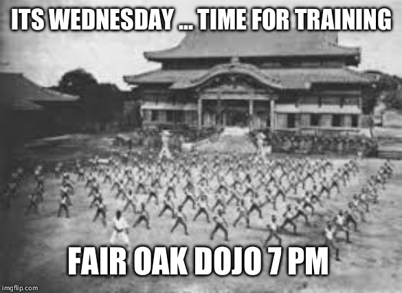 Wednesday training | ITS WEDNESDAY ... TIME FOR TRAINING FAIR OAK DOJO 7 PM | image tagged in karate | made w/ Imgflip meme maker