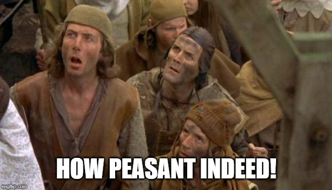 Monty Python Peasants | HOW PEASANT INDEED! | image tagged in monty python peasants | made w/ Imgflip meme maker