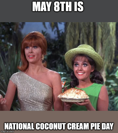 Coconut Cream Pie Day | MAY 8TH IS NATIONAL COCONUT CREAM PIE DAY | image tagged in pie,coconut,holiday | made w/ Imgflip meme maker