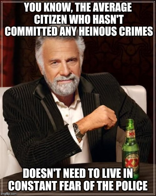 The Most Interesting Man In The World Meme | YOU KNOW, THE AVERAGE CITIZEN WHO HASN'T COMMITTED ANY HEINOUS CRIMES DOESN'T NEED TO LIVE IN CONSTANT FEAR OF THE POLICE | image tagged in memes,the most interesting man in the world | made w/ Imgflip meme maker