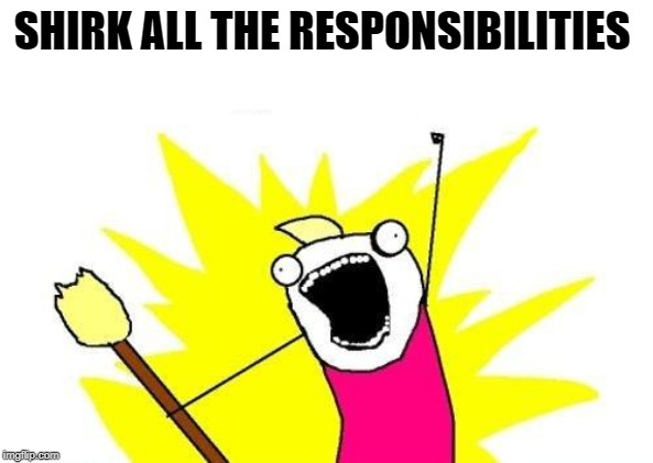 X All The Y Meme | SHIRK ALL THE RESPONSIBILITIES | image tagged in memes,x all the y | made w/ Imgflip meme maker
