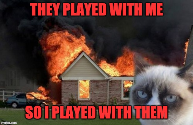 Burn Kitty Meme |  THEY PLAYED WITH ME; SO I PLAYED WITH THEM | image tagged in memes,burn kitty,grumpy cat | made w/ Imgflip meme maker