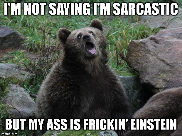 Smart ass! | I'M NOT SAYING I'M SARCASTIC BUT MY ASS IS FRICKIN' EINSTEIN | image tagged in sarcastic bear,sarcasim,einstein,smart ass | made w/ Imgflip meme maker