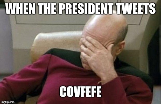Captain Picard Facepalm Meme | WHEN THE PRESIDENT TWEETS COVFEFE | image tagged in memes,captain picard facepalm | made w/ Imgflip meme maker