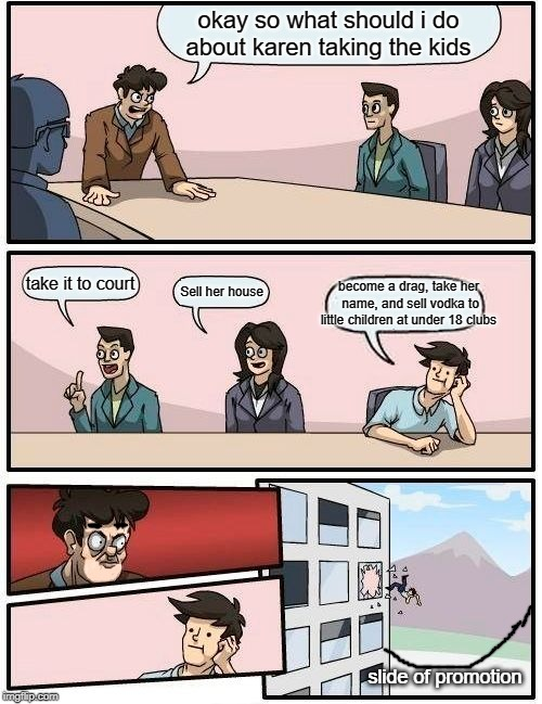 Kevin had to do something about his divorce | okay so what should i do about karen taking the kids take it to court Sell her house become a drag, take her name, and sell vodka to little  | image tagged in memes,boardroom meeting suggestion,karen,funny | made w/ Imgflip meme maker