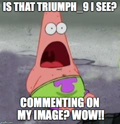 Suprised Patrick | IS THAT TRIUMPH_9 I SEE? COMMENTING ON MY IMAGE? WOW!! | image tagged in suprised patrick | made w/ Imgflip meme maker