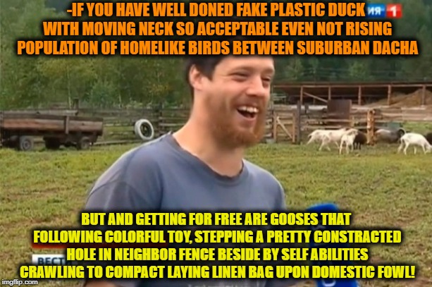 -Idea «How to unlock a farm». | -IF YOU HAVE WELL DONED FAKE PLASTIC DUCK WITH MOVING NECK SO ACCEPTABLE EVEN NOT RISING POPULATION OF HOMELIKE BIRDS BETWEEN SUBURBAN DACHA | image tagged in farmer,so god made a farmer,breaking news,good news everyone,birds of a feather,creepy smile | made w/ Imgflip meme maker