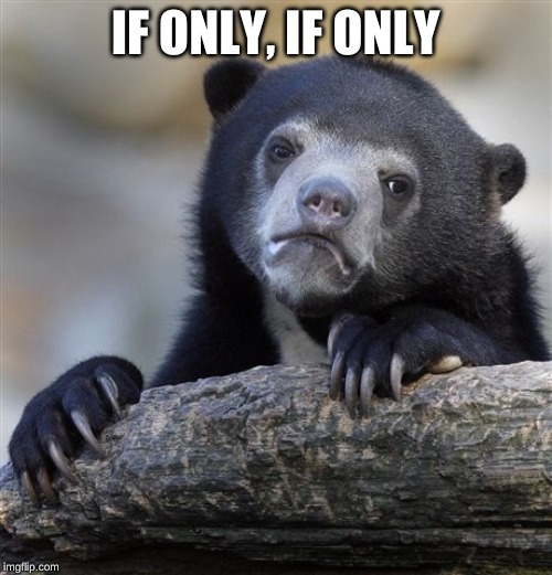 Confession Bear Meme | IF ONLY, IF ONLY | image tagged in memes,confession bear | made w/ Imgflip meme maker