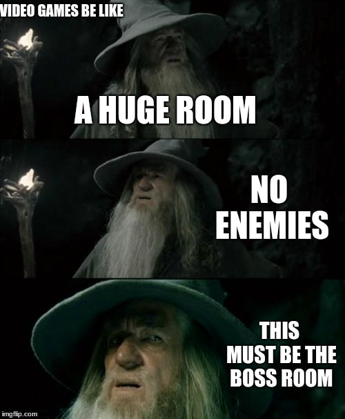 Confused Gandalf Meme | VIDEO GAMES BE LIKE A HUGE ROOM NO ENEMIES THIS MUST BE THE BOSS ROOM | image tagged in memes,confused gandalf | made w/ Imgflip meme maker