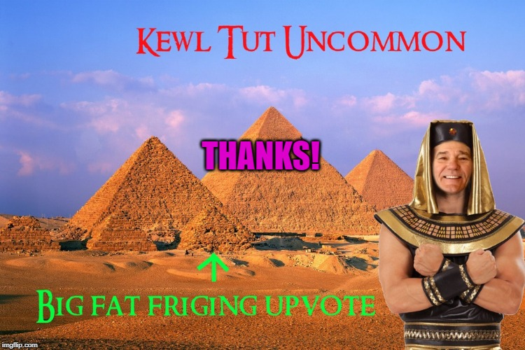 kewl tut uncommon | THANKS! | image tagged in kewl tut uncommon | made w/ Imgflip meme maker