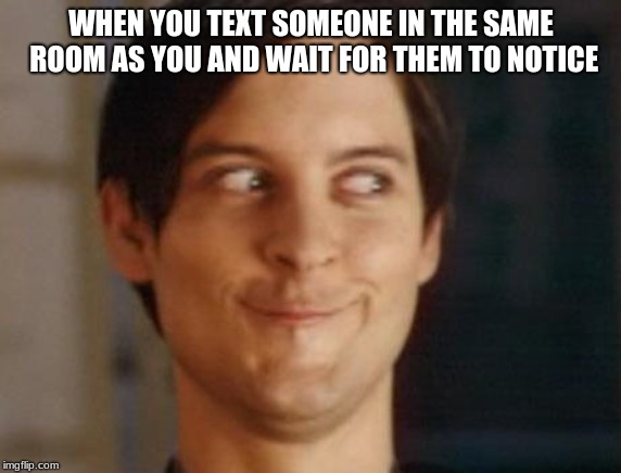 Spiderman Peter Parker Meme | WHEN YOU TEXT SOMEONE IN THE SAME ROOM AS YOU AND WAIT FOR THEM TO NOTICE | image tagged in memes,spiderman peter parker | made w/ Imgflip meme maker
