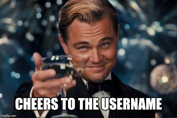 Leonardo Dicaprio Cheers Meme | CHEERS TO THE USERNAME | image tagged in memes,leonardo dicaprio cheers | made w/ Imgflip meme maker